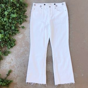 Free People White Fray Cropped Jeans